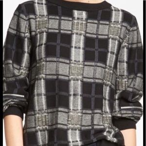 Anthropologie Tildon Tattered plaid sweater large